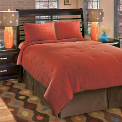 Signature Design by Ashley - Comforter Set Bedding in Red w Tufted Accents - Choose Size: Queen1 Oversized comforter. 1 Bed skirt (15 inch drop). 2 Pillow shams. DRY CLEAN ONLY. Brick Color