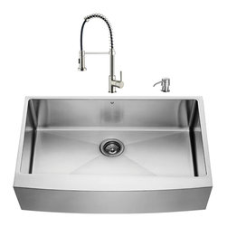 """VIGO Industries - VIGO All in One 36-inch Farmhouse Stainless Steel Kitchen Sink and Faucet Set - Give your kitchen a complete makeover with a VIGO All in One Kitchen Set featuring a 36"""" Farmhouse - Apron Front kitchen sink, faucet, soap dispenser, matching bottom grid and sink strainer."""
