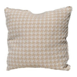 "Pillow - Taupe Houndstooth Pillow - An Oomph favorite - subtle shades of rain-washed, camel or charcoal on cream ground, linen fabric. An updated classic that compliments our neutral color palette. Quiet oomph. Dimensions: 22"""" square. Insert: 90/10 feather/down with zipper for ease of cleaning. Made in U.S.A."