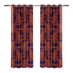 Dolce Mela - Dolce Mela DMC462 Window Treatment Damask Drapes Calypso Curtain Panel - A Luxurious and traditional design is presented on these unique drapes featuring classic sienna brown damask patterns on a indigo background to create a sophisticated decor.