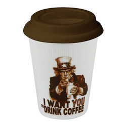 "Konitz - Set of 2 Travel Mugs Uncle Sam I Want You to Drink Coffee - White porcelain travel mug has a dark brown silicone lid and a picture of Uncle Sam saying ""I Want You to Drink Coffee."""