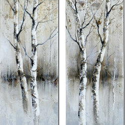 Winter Birch Tree Canvas Wall Art Set of 2 - *Frameless, hand painted artwork on stretched canvas.