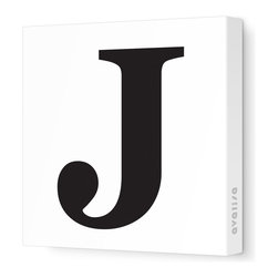 """Avalisa - Letter - Upper Case 'J' Stretched Wall Art, 12"""" x 12"""", Black - Spell it out loud. These uppercase letters on stretched canvas would look wonderful in a nursery touting your little one's name, but don't stop there; they could work most anywhere in the home you'd like to add some playful text to the walls. Mix and match colors for a truly fun feel or stick to one color for a more uniform look."""