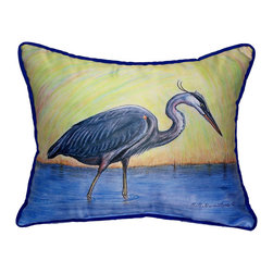 Betsy Drake Interiors - Betsy Drake Blue Heron Indoor/Outdoor Pillow, 14X4X11 - Can Be Used Indoors Or Outdoors.  Small Size Makes A Great Gift. Brightens Up Any Room Or Patio.  Tough And Durable.   Spot Clean With Water Or Dish Soap.