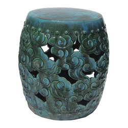 Golden Lotus - Chinese Green Blue Round Cloud Pattern Clay Stool - This clay stool is hand-made and glazed with  green color. It is a beautiful piece with the lotus pattern on two sides and Fu-dog heads on two sides as well as the little round buttons. Besides being a garden stool, this kind of stool is getting popular for decorating indoor home. It is mostly use as a table base/ small coffee table, plant stand or simply as a decor item. ( please understand we will send the closest option for your order because there is variation for the hand-made item) Color distribution may be different.