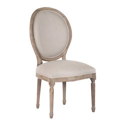 """Zentique - Zentique Furniture Medallion Limed Grey Side Chair - Fusing classic European motifs with rustic charm, Zentique's home decor and furnishing collection defines understated elegance. This Louis XVI-style Medallion side chair lends living rooms and dining rooms vintage-inspired design. Featuring a round back and stately, carved wood frame, the traditional seat is completed with a limed gray finish and natural linen upholstery. Made from oak. 21""""W x 21""""D x 40""""H."""