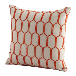 Cyan Design - Cyan Design Building Blocks Pillow X-02560 - Contrasting materials add visual texture to this Cyan Design pillow, from the Building Blocks Collection. This elegant decorative pillow features shades of ivory and vivid orange, with a simple repeating pattern that compliments a wide range of decors and styles.