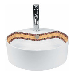 Renovators Supply - Vessel Sinks White Mosaic Painted Vessel Sink | 13384 - Vessel Sinks Above Counter: Made of Grade A vitreous China these sinks easily endure daily wear and tear. Our protective RENO-GLOSS finish resists common household stains and makes it an EASY CLEAN wipe-off surface. Ergonomic and elegant easy reach design reduces daily strain placed on your body. SPACE-SAVING design maximizes limited bathroom space. Easy, above counter installation let's you select from many countertop designs, sold separately. Measures 18 inch diameter