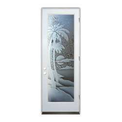 Sans Soucie Art Glass (door frame material Plastpro) - Glass Front Entry Door Sans Soucie Art Glass Palm Sunset 3D - Sans Soucie Art Glass Front Door with Sandblast Etched Glass Design. Get the privacy you need without blocking light, thru beautiful works of etched glass art by Sans Soucie!This glass is semi-private. Door material will be unfinished, ready for paint or stain.Bronze Sill, Sweep.Satin Nickel Hinges. Available in other finishes, sizes, swing directions and door materials.Tempered Safety Glass.Cleaning is the same as regular clear glass. Use glass cleaner and a soft cloth.