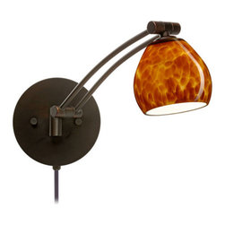 Besa Lighting - Besa Lighting 1WW-560518-CP Tay Tay 1 Light Swing Arm Halogen Wall Sconce - The Tay Tay is a compact handcrafted glass, softly radiused to fit gracefully into contemporary spaces. Our Amber Cloud glass is full of floating, vibrant warm tones that range from light gold to deep amber. When lit, the humid color palette illuminates to exude a harmonious display. This decor is created by rolling molten glass in small bits of brown hues called frit. The result is a multi-layered blown glass, where frit color is nestled between an opal inner layer and a clear glossy outer layer. This blown glass is handcrafted by a skilled artisan, utilizing century-old techniques passed down from generation to generation. Each piece of this decor has its own artistic nature that can be individually appreciated. The swing arm fixture includes a 12V electronic transformer and integrated full-range rotary dimmer. The adjustable arm assembly pivots for 130 degree rotation at the canopy, and swings up and down within 180 degree range.Features: