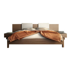 Modloft - Monroe Platform Bed in Walnut with White Headboard Pillows - Features:
