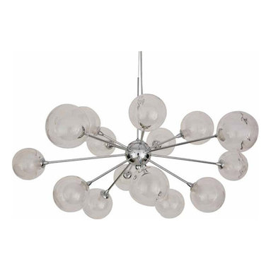 Yves Suspension by Nuevo Living - Yves pendant features opal inner glass with a clear outer glass globes and a chrome finish. Fifteen 25 watt, 120 volt, JCD G9 base halogen lamps included. General light distribution. Overall height adjustable up to 80 inches. 31.5W x 15.5H.