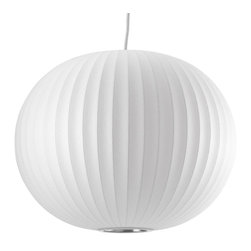 Modernica - Bubble Lamp, Ball, Medium   Modernica - Taking its cues from midcentury design, this handcrafted ceiling pendant features a white ridged balloon shade, six feet of white cord and a brushed-nickel ceiling plate. Place one over your breakfast or dining table or near a favorite reading chair for a little earthy, organic enlightenment.