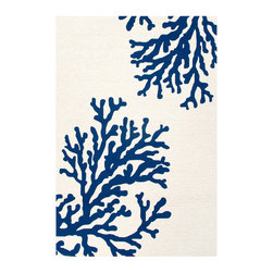 Grant Bough Indoor/Outdoor Rug - White and Blue, 3.6x5.6 - The bold organic beauty of this rug may inspire reveries of halcyon days illumed by golden sun and filled with gentle laughter. Crafted in durable hand-hooked polypropylene, the Grant Bough Out Indoor/Outdoor Rug - White and Blue is chic enough for any transitional indoor space but boasts an easy-care construction that allows for exceptional durability when used outdoors.