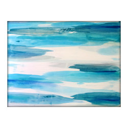 Large Abstract Painting on Canvas Contemporary/Modern Minimalist Painting - 36x4 - Extra Large Original Abstract Minimalist Painting - Blues