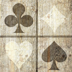 Suzanne Powers - Rustic Playing Card Symbols Artwork, Sepia - Rustic Playing card symbols comes in two colors:  sepia, white/black, on a white washed rustic wood background.
