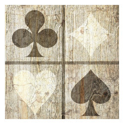 Suzanne Powers - Rustic Playing Card Symbols, Sepia - Rustic Playing card symbols comes in two colors:  sepia, white/black, on a white washed rustic wood background.
