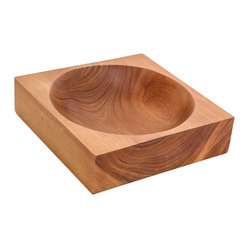 ecofirstart - Square Wooden Bowl With Round Center - This bowl gets an A+ for geometry. Carved from a single piece of wood, it's a study in form and function, with its square shape and round center. Artisan-made in the traditional manner, it's a great piece to add to your serveware arsenal.