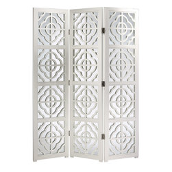 "Inviting Home - Mirrored Folding Screen - 3-panel folding wood screen with lacquered white finish open work design and mirrored panels overall - 64-1/2""W x 78""H each panel - 21-1/2""W 3-panel folding wood screen with lacquered white finish open work design and mirrored panels. The back has a lacquered white finish."