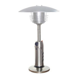PrimeGlo - Stainless Steel Patio Heater - Tabletop Heaters - Tabletop Heaters Collection. Made of Stainless Steel. Stainless Steel finish. 11,000 BTU's Variable Control. Safety devices such as a thermocouple and anti tilt device. Weight plate for stability. Uses 1 lb. bottle (not included). 21 in. L x 21 in. W x 38 in. H (19 lbs.)Outdoor tabletop propane patio heater in Stainless Steel. It stands 38 inches tall with weight plate for added stability. This unit comes with safety devices, which include a thermocouple and anti tilt device. The heater comes with a cover and easy start ignition. Heat production of 11k BTU's which heats a 6 ft. diameter.