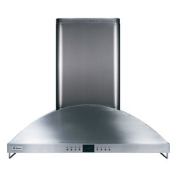 """GE Monogram - GE Monogram® 36"""" Wall-Mounted Vent Hood - A GE Monogram range hood provides the power necessary to capture the smoke and steam produced by high-performance cooking equipment. All hoods are equipped with a variable-speed fan that helps reduce energy usage and sound levels by operating continuously at a low speed, reaching maximum power only as needed for boiling, sautéing and stir-frying."""