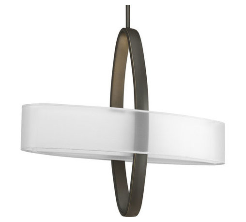 Progress Lighting - Progress Lighting P5058-20EBWB Cuddle Four-Light Energy Efficient Linear Pendant - Unique pendant featuring an oval shaped shade intersecting with an oval shaped support arm.Features: