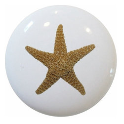 Carolina Hardware and Decor, LLC - Starfish Nautical Ceramic Cabinet Drawer Knob - New 1 1/2 inch ceramic cabinet, drawer, or furniture knob with mounting hardware included. Also works great in a bathroom or on bi-fold closet doors (may require longer screws).  Item can be wiped clean with a soft damp cloth.  Great addition and nice finishing touch to any room.
