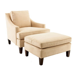 Ballard Designs - Manchester Chair & Ottoman - Elegant sloping arms. Bench made hardwood frames. Down blend cushions. Our Manchester Chair and Ottoman are an elegant blending of vintage allure and contemporary styling. Engineered hardwood frame is Kiln-dried and bench-made in the USA. Handcrafted with mortise-and-tenon joints and double doweled for added strength. Cushions are finished with self-piped seams and filled with luxurious down blend for the perfect mix of sink-in comfort and support. Tapered legs are finished in a dark walnut stain. Chair & Ottoman Features: . . .
