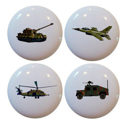 Carolina Hardware and Decor, LLC - Set of 4 Military Vehicle Ceramic Knobs - Set of four new 1 1/2 inch ceramic cabinet, drawer, or furniture knobs with mounting hardware included. Also works great in a bathroom or on bi-fold closet doors (may require longer screws).  Items can be wiped clean with a soft damp cloth.  Great addition and nice finishing touch to any room.