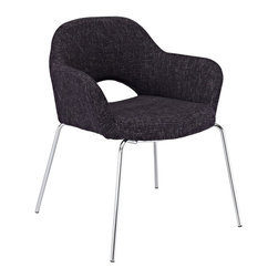 Modway - Cordelia Dining Chair in Black - Participate in renewed growth and actualization with the Cordelia Side Chair. Sit comfortably as an aspirational back and up-surging arms compliment a dual-tone tweed fabric cushion. Sleek chrome legs solidify the progress as unlocked potentials are established with ease.