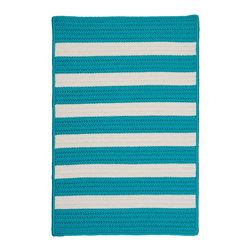 Colonial Mills, Inc. - Stripe It, Turquoise Rug, Sample Swatch - Bright turquoise and white contemporary stripes give this braided rug a sporty summer look, like a beach towel. Weatherproof and fade resistant, it would be perfect on a pool deck, or in any room that favors tropical, beachy colors and themes.