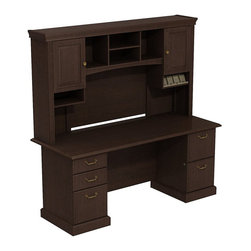 """BBF - Bush Syndicate 72"""" 2-Pedestal Desk with Hutch in Mocha Cherry - Bush - Computer Desks - SYN006MR - Syndicate fits comfortably in traditionally styled work environments no matter where they may be. Combining classic design elements its small footprints are appropriately scaled for serious home offices. Syndicate Line Mocha Cherry 72""""W x 30""""D Double Pedestal Desk with Tall Overhead Storage keep you organized in style. Right sized for serious home and corporate offices where space is tight the Double Pedestal 72""""W Desk offers ample work surface and storage. Includes two box drawers for supplies plus one file drawer for letter- legal- or A4-size files on left and two file drawers on right pedestal. Solid sturdy 1""""-thick work surface looks good for years resists stains and scratches. Integrated 4-port USB hub in Desk surface connects electronic devices to laptops or PCs. 72""""W Overhead scoops up desk clutter. Integrated open-and-closed storage cabinet has two raised panel doors plus cubbies and cubicles hold work in progress. Convenient angled shelf makes charging electronic devices neat and contained. Multiple storage options improve work process organization. Desktop and Overhead wire management grommets provide easy access to concealment of cords and cables. Includes Bush 10-year warranty."""