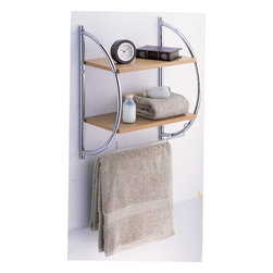 Organize It All Manhattan 2-Tier Wood Mounting Shelf with Towel Bars - Features: Stores towels, Can store other things on the shelf, Mounts to the wall