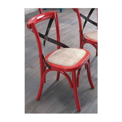 Zuo Modern - Straw Cushion Side Chair - Set of 2 - Set of 2. Warranty: One year limited. Made from elm wood and rattan. Red finish. Assembly required. Seat Width: 14 in.. Seat Depth: 13 in.. Seat Height: 13.4 in.. Overall: 15.7 in. W x 16.7 in. D x 25 in. H (6.8 lbs.)