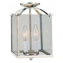 """Volume Lighting - Volume Lighting V5002 2 Light Foyer 11.75"""" Height Pendant with Clear Glass Squar - Two Light Foyer 11.75"""" Height Pendant with Clear Glass Square ShadeAdd a touch of class to your home with this 2 light foyer pendant featuring pristine clear glass.Features:"""