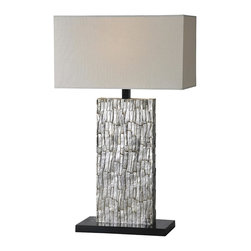 Ren-Wil - LampSanta Fe Collection - The body of the Santa Fe lamp is rich and refined with its aged silver leafing and exquisite bark like texture. Finished with a trim less off white linen shade and black base. Matching mirror MT1071.