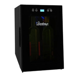 Vinotemp - 8-Bottle Thermoelectric Wine Cooler - This Vinotemp 8-Bottle Thermoelectric Wine Cooler is the perfect size for the counter top. The VT-8TEDTS-ID features a touch screen control panel located on the doors exterior, a stylish concave door with a recessed handle and an in door storage compartment. Its compact size makes this cooler suitable for a home with limited space.