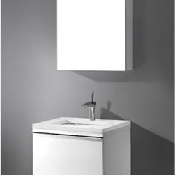 """Madeli - Madeli Venasca 24"""" Bathroom Vanity with Quartzstone Top - Glossy White - Madeli brings together a team with 25 years of combined experience, the newest production technologies, and reliable availability of it's products. Featuring sleek sophisticated lines Madeli vanities are also created with contemporary finishes and materials. Some vanities also feature Blum soft-close hardware. Madeli also includes a Limited 1 Year Warranty on Glass Vessels, Basin, and Counter Tops. Sleek, modern and sophisticated, the Venasca Collection features a wall hung cabinet in a rich Glossy White finish accented with decorative, polished chrome handles. A slight pull on the full length handles reveals spacious, full-extension, storage drawers with Blum soft-closing hardware. Add to this a luxurious polyurethane-protected finish and you end up with a stylish and functional piece worthy of being the centerpiece of your dream bathroom. Features Base vanity with Blum Soft Close hinge pull-out drawer, wall hung Glossy White finish Polished Chrome finish handle 1-1/4""""H Quartzstone Countertops come in White or Soft Grey finish Quartzstone Countertops come with single faucet or 8"""" widespread faucet holesCeramic undermount sink with overflow Faucet and drain are not includedNo backsplash Matching mirror and medicine cabinet available Limited 1 Year Warranty on Glass Vessels, Basin, and Counter Tops How to handle your counter Spec Sheet Installation Instructions"""