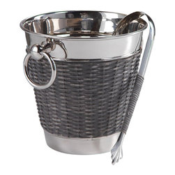 Zodax - Zodax Woven Cane Wine Chiller with Ice Tong - Zodax - Wine Racks - IN5348 - Woven Cane Wine Chiller with Ice Tong