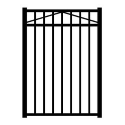 Jerith Black 3-Rail Style Single Aluminum Walk Gate - The Jerith Black 3-Rail Style Single Aluminum Walk Gate is pre-assembled so installation is a breeze. This walk gate is made of strong aluminum alloy and features a powder-coated black finish that won't crack, chip, or peel. Gate posts not included. This walk gate has less than 4 inches between pickets and 47-inch rail spacing, which meets most swimming pool enclosure codes. Always consult your local building department for pool codes prior to installing a fence.About Jerith:Since 1961, Jerith has been producing top-notch ornamental fences and revolutionizing the standard of fencing from its family owned location in Philadelphia, PA. Known for their high-quality products and outstanding service, Jerith is constantly improving their techniques and holds numerous patents within the fencing market all with the intent of bringing you the best possible product. Jerith understands that when you buy a fence for your home, you expect it to last as long as your home does, and that's what they give you. Their proud tradition of US-made, outstanding fences and customer service is held to the highest standard in the industry.
