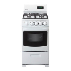 "Danby - 20"" Gas Range,4 Sealed Burner,Electronic Ignition,2 Oven Racks,Window - The Danby DR2099WGLP 20 In. Space Saving Gas Range with Oven Window, in white, can also run on liquid propane. This small range is the perfect addition to trailers, cottages or accessory apartments. The white, scratch resistant porcelain surface is easy to clean and an integrated lip contains spills. It features two 9,000 BTU sealed burners and two 6,000 BTU sealed burners plus a 2.62 cu. ft. oven capacity.20 in. space saving gas range with electronic ignition