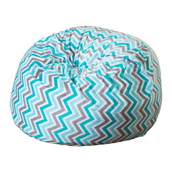 Great Deal Furniture - Ashley 3Ft Chevron Stripe Fabric Bean Bag Chair, Teal Charcoal - Lounge in style with the Ashley 3-foot teal chevron stripe bean bag. The lively pattern and plush fabric makes this an inviting piece for any child or adult. Its microfiber fabric is soft to the touch and the cool colors will add a twist to almost any decor. Made in the United States with an eco-friendly foam filler, this bean bag offers a luxurious and comfortable option to your in home lounging experience.