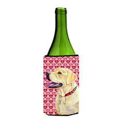 Caroline's Treasures - Labrador Hearts Love and Valentine's Day Portrait Wine Bottle Koozie Hugger - Labrador Hearts Love and Valentine's Day Portrait Wine Bottle Koozie Hugger Fits 750 ml. wine or other beverage bottles. Fits 24 oz. cans or pint bottles. Great collapsible koozie for large cans of beer, Energy Drinks or large Iced Tea beverages. Great to keep track of your beverage and add a bit of flair to a gathering. Wash the hugger in your washing machine. Design will not come off.