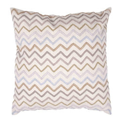 "Jaipur Rugs - Jaipur Rugs Contemporary Tribal Pattern Flax Cotton Pillow // 18""X18"" - A beautiful collection of pillows in chambray cotton fabric with a super soft hand feel. Simple modern patterns in soft pastel colours create a casual easy to use range."