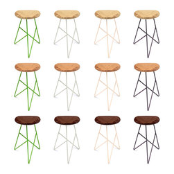 brave space design - Acute Stools, Amber Bamboo, Middle, Apple - The Acute Stool is a design that derives its strength from the power of threes. Made using three pieces of wood for the seat and outfitted with a trio of metal legs, the piece's acute angles and radial symmetry provide extra strength. A triangular triumph for your derriere, the uniquely shaped top allows your legs a comfortable rest amid a backdrop of acute angles.