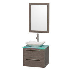 """Wyndham Collection - Amare 24"""" Vanity in GRN Glass Top, Arista WHT CRRA Sink, 24"""" MRR - Modern clean lines and a truly elegant design aesthetic meet affordability in the Wyndham Collection Amare Vanity. Available with green glass, acrylic resin or pure white man-made stone counters, and featuring soft close door hinges and drawer glides, you'll never hear a noisy door again! Meticulously finished with brushed chrome hardware, the attention to detail on this elegant contemporary vanity is unrivalled."""