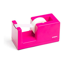 Poppin - Tape Dispenser, Pink - Let's dispense with formalities. You have trouble staying organized and your desk suffers from the style blahs. But this tape dispenser in your choice of eye-popping colors is bound to fix that. It features a weighted core, includes a free role of tape and coordinates with other desk accessories in the same line.