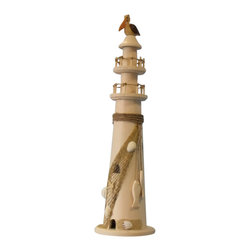"""Handcrafted Nautical Decor - Wooden Pelican with Rope Large Lighthouse 20"""" Nautical Lighthouse Coastal Living - Handcrafted from solid wood, this charming lighthouse brings your room alive with the ambiance of the beach. Complete with a adorable pelican perched at the top, place this classic lighthouse anywhere in your home for a wonderful nautical accent."""