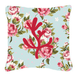 Caroline's Treasures - Coral Shabby Chic Blue Roses Fabric Decorative Pillow Bb1103 - Indoor or Outdoor Pillow made of a heavyweight Canvas. Has the feel of Sunbrella Fabric. 14 inch x 14 inch 100% Polyester Fabric pillow Sham with pillow form. This pillow is made from our new canvas type fabric can be used Indoor or outdoor. Fade resistant, stain resistant and Machine washable.