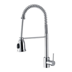 Ruvati - Ruvati RVF1215CH Commercial Style Pullout Spray Kitchen Faucet - Polished Chrome - This premium Ruvati kitchen faucet from the Cascada collection is constructed of solid brass giving it exceptional durability. The ceramic disc cartridge ensures drip-free functionality. The faucet can be installed into countertops up to two inches thick. Hot and cold water connection hoses are included.